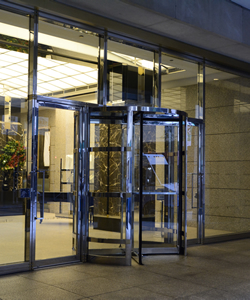 Doorman Attended Commercial Highrise Building Entrance